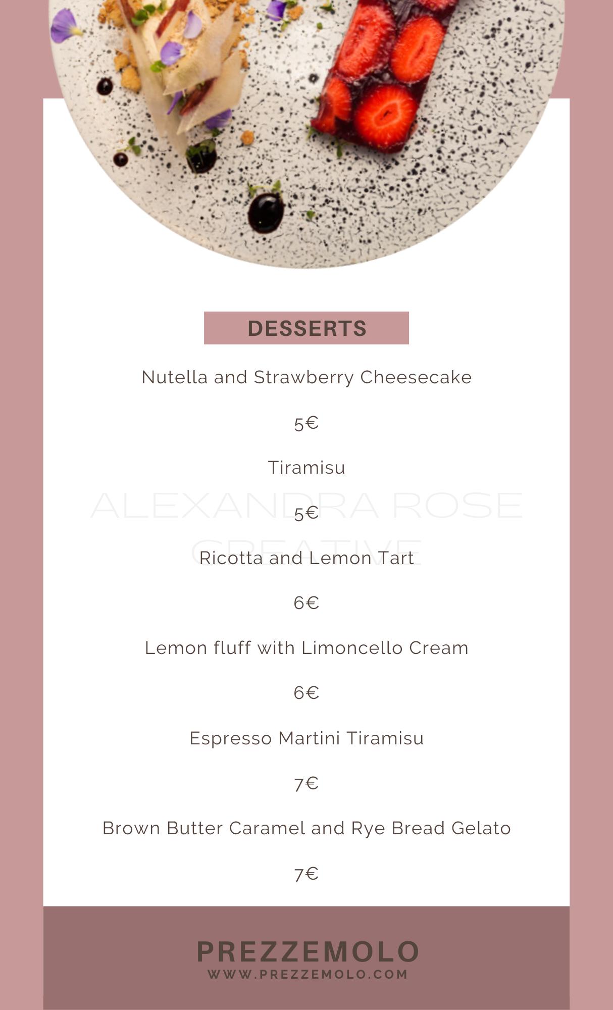 Menu Design - Alexandra Rose Creative